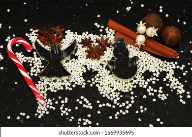 christmas holidays, 2020, angel, snowman, pine cone, cinnamon, granite, black, decorations, baking, molds, roasted millet, candy, ornaments, background, dried lime