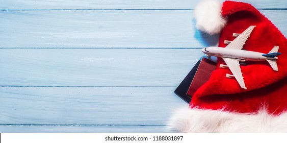 Christmas holidays background with plane