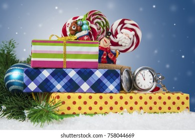 Christmas holidays composition on light background. Five minutes to celebration