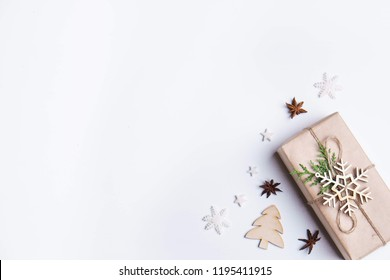 Christmas holidays composition on white background with copy space for text