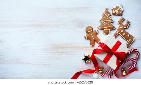 Christmas holidays ornament flat lay; Christmas card background