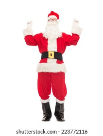 christmas, holidays and people concept - man in costume of santa claus having fun
