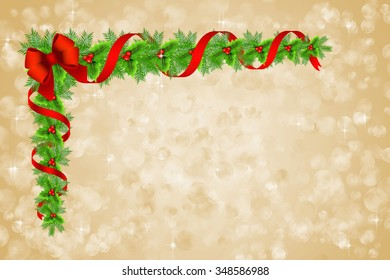 Christmas holly border decoration over glowing lights background.