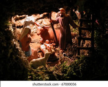 Christmas: the Holy Family in the stable in Bethlehem. Birth of Jesus Christ, the Messiah.