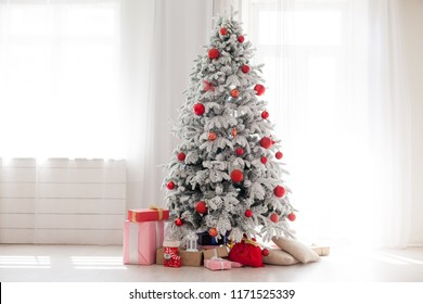 Christmas Home Interior with White Christmas tree
