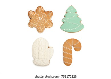 Christmas homemade gingerbread cookie on white