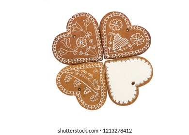 Christmas homemade gingerbread cookies isolated on white background.  Christmas Decoration.