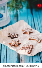 Christmas homemade gingerbread cookies. Christmas cookies. Wooden background