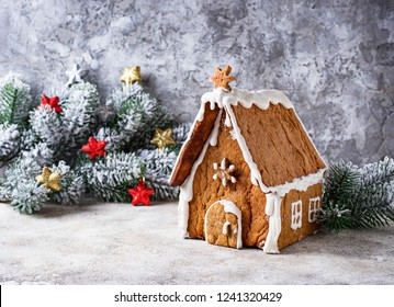 Christmas homemade Gingerbread house decorated with icing