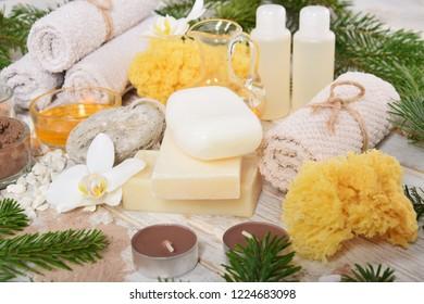 Christmas homemade spa, pumice, natural soap chocolate facial mask, pumice, body oils