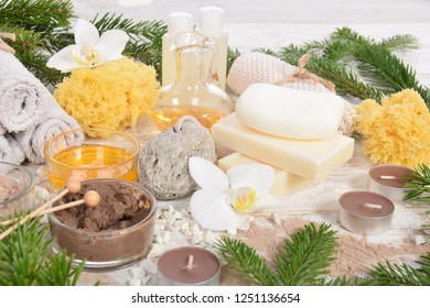 Christmas homemade spa, pumice, natural soap chocolate facial mask, pumice, body oils