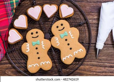 Christmas homosexual gay couple, gingerbread cookies