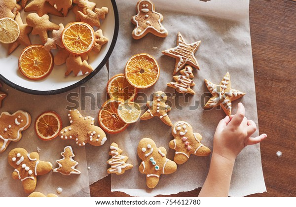Christmas Honey Biscuits Orange Christmas Cookies Stock Photo Edit