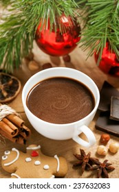 Christmas hot chocolate, cocoa with gingerbread