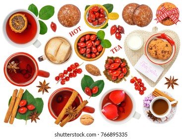 Christmas Hot Drink Isolated on White Background. Contains tea, hot chocolate - coffee, marshmallows, gingerbread, biscuit, star anise, rose hip, mug, walnut, pecan, spices, red currant