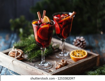 Christmas hot mulled wine in a glass with spices