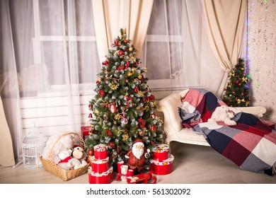 Christmas House with Christmas tree and fireplace