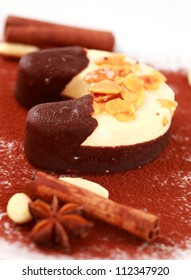 Christmas ice cream with nuts and chocolate
