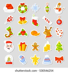 Christmas Icon Set Collection. cartoon. New year traditional symbols. icons objects. Isolated. Rasterized Copy