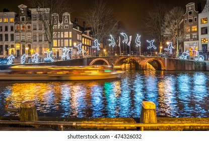Christmas illumination  in Amsterdam canal.
