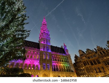 Christmas illumination of Grand Place in Brussels, Belgium