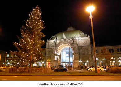 Christmas Illuminations and Nuremberg Central Station in Germany