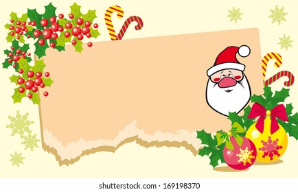 Christmas illustration with Santa Claus and mistletoe.