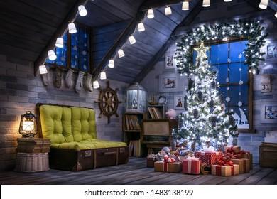 El cuarto interior de Navidad en el ático por la noche.
