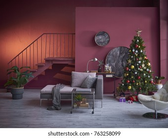 Christmas Interior, Decorated Home Room with different style sofa, all kind of Christmas ornaments