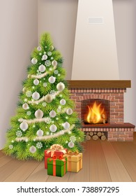 Christmas Interior with fir tree, brick fireplace and gift boxes. Background for xmas greeting card.