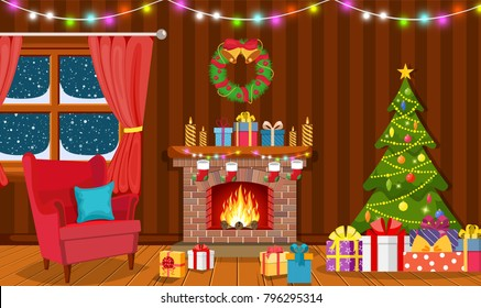 Christmas interior of the living room with a Christmas tree, gifts and a fireplace. illustration in a flat style