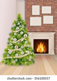 Christmas interior with christmas tree decorated balls and a burning fireplace on brick wall background.
