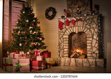 Christmas interior with Christmas tree and fireplace