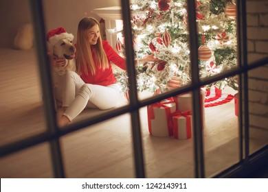 Christmas interior and woman