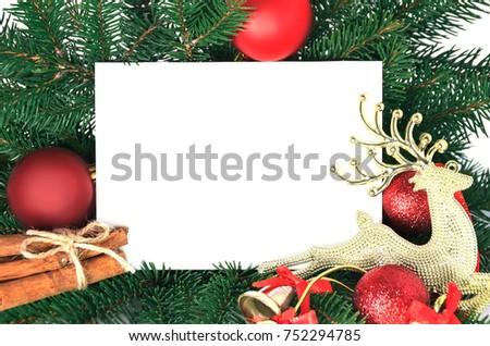 christmas invitation card holiday greeting decorated stock photo