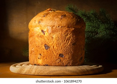 Christmas italian panetton on a christmas tree background