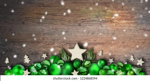 Christmas items on wood background