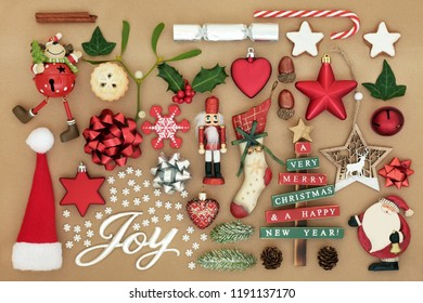 christmas joy sign with retro tree bauble decorations winter flora food and traditional symbols