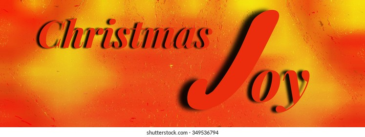 Christmas Joy Text Red and Gold Illustration Banner Greeting
