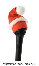 christmas karaoke mike in santa hat isolated on white background
