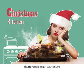 Christmas kitchen. Woman overlooked roast chicken in the oven. Funny kitchen collage