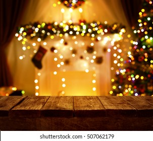 Christmas Kitchen Wood Table, Xmas Holiday Night Lights, Empty Wooden Desk
