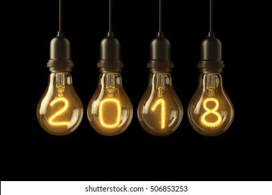 Christmas lamp light bulbs Illuminated new year 2018 on black background. 3D illustration