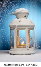 Christmas lamp. Shallow dof.  Focused on fire.