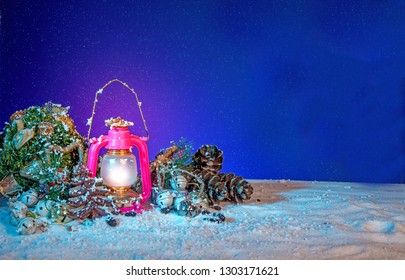 Christmas Lantern Banner, old Kerosene Lamp background, stock image