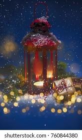Christmas lantern with bokeh