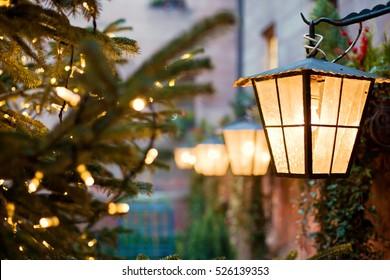 Christmas lantern and cozy lights