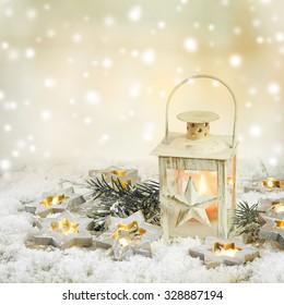 Christmas lantern with light stars