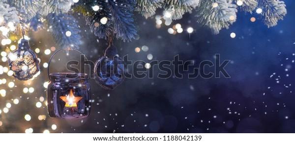 Christmas Lantern, Christmas and New Year holidays background, winter season.
