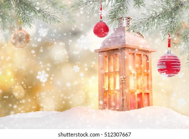 Christmas lantern on abstract background, close-up.